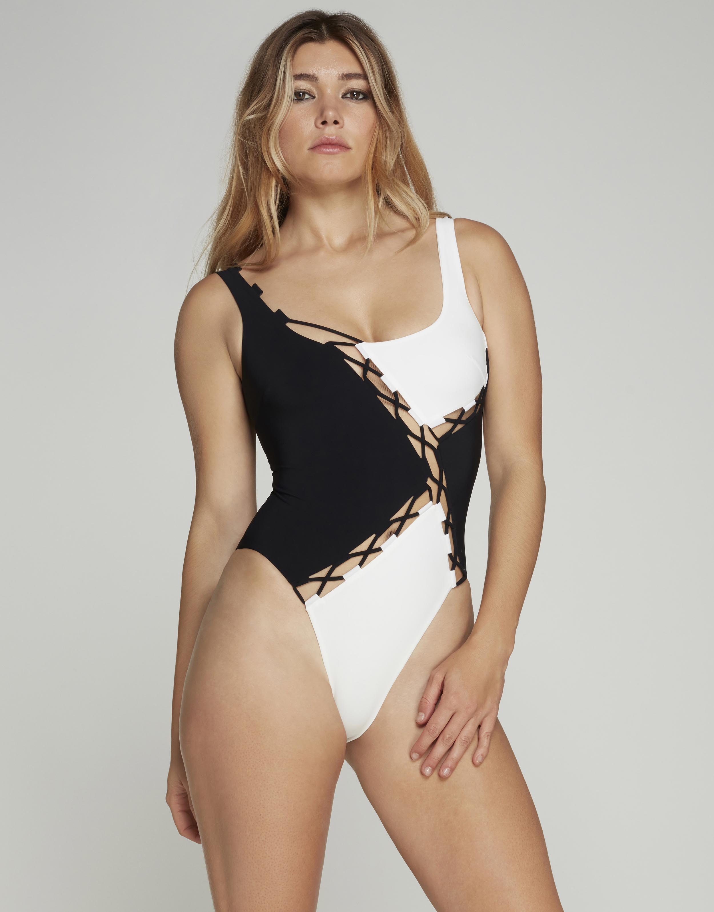 Agent Provocateur Jojo Monochrome Swimsuit In Black & White
