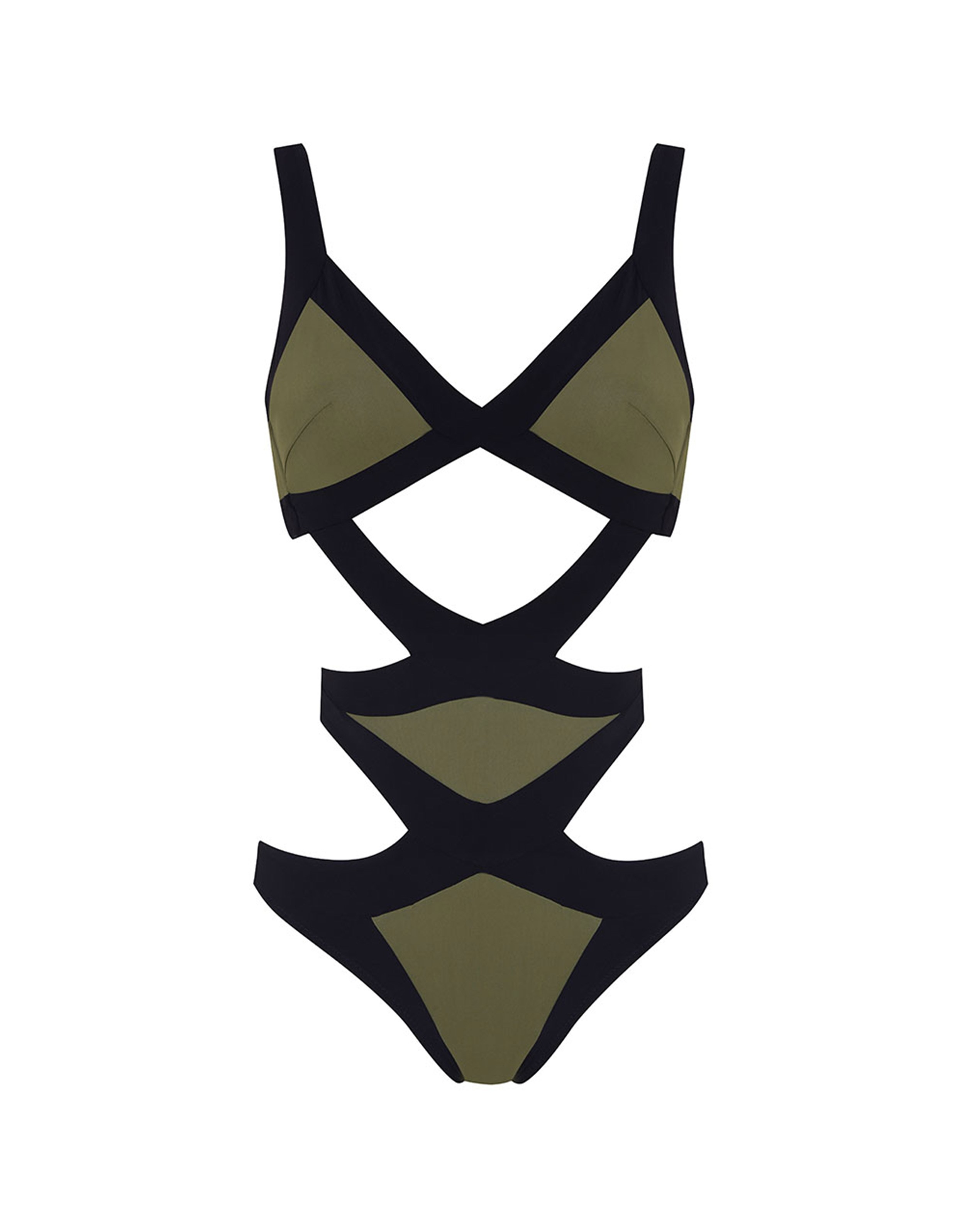Agent Provocateur Mazzy Swimsuit Khaki And Black